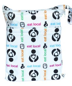 Eat Local design on White Medium Wet Bag