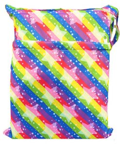 Stars on Rainbow Stripes Medium Wet Bag