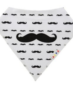 Moustaches White Bandana Bib