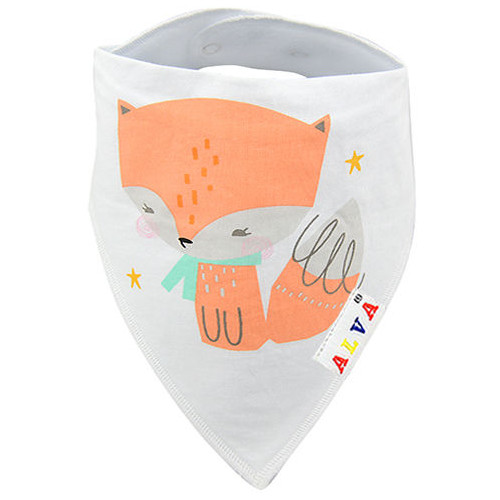 Fox White Bandana Bib