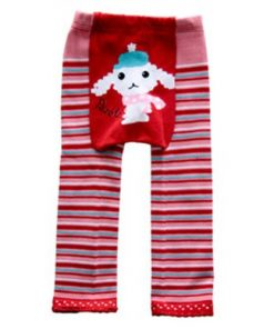 CCL008 - Pink and Red Striped Lamb Baby Leggings