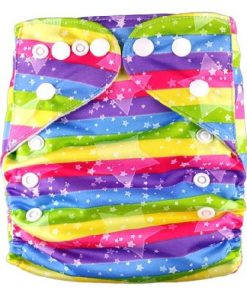 Stars on Rainbow Stripes Reusable Nappy