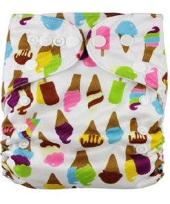 Ice Creams on White Reusable Nappy