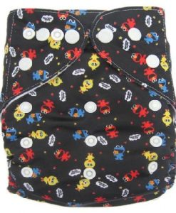 Sesame Street characters on Black Reusable Nappy
