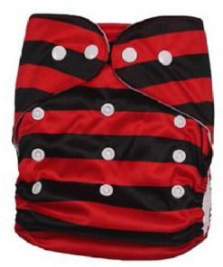Black and Red Striped Reusable Nappy