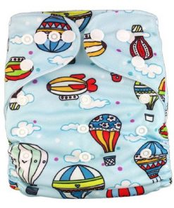 Hot Air Balloons on White Reusable Nappy