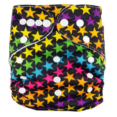 Coloured Stars on Black Reusable Nappy