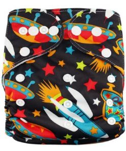 Spaceships on Black Reusable Nappy