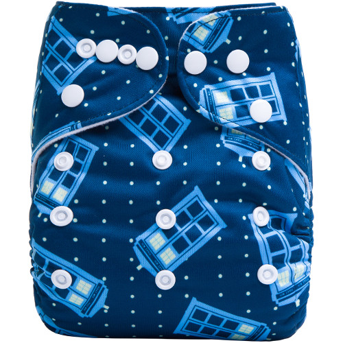 Police Boxes on Blue Reusable Cloth Nappy