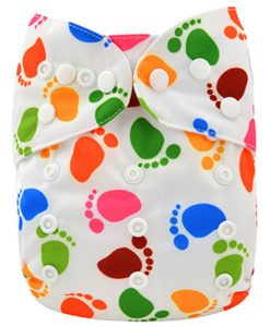 Coloured Footprints on White Reusable Nappy