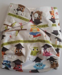 CCN111 - BTP - Wise Owls on White Reusable Cloth Nappy