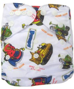Dumpy characters on White Reusable Nappy