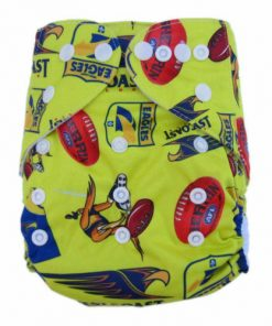 CCN118 - BTP - West Coast Eagles Yellow Reusable Cloth Nappy