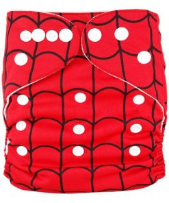 Black Spiderweb on Red Reusable Nappy