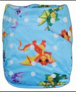 CCN123 - BTP - Chinese Dragons on Blue Reusable Cloth Nappy