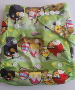 CCN146 - BTP - Angry Birds on Green Reusable Cloth Nappy