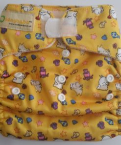 CCN180 - BTP - Dudeybaba - Characters on Yellow (MF Insert) Reusable Cloth Nappy