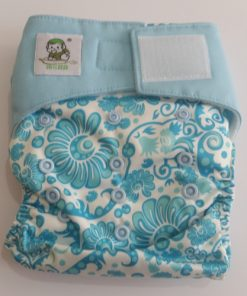 CCN186 - BTP - Coolababy - Blue Floral Design (MF Insert) Reusable Cloth Nappy