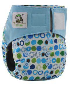 CCN187 - BTP - Coolababy - Circles on White (Charcoal with MF Insert) Reusable Cloth Nappy