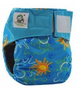 CCN188 - BTP - Coolababy - Sunshine on Blue (Charcoal with MF Insert) Reusable Cloth Nappy