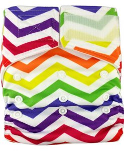 Rainbow Zig Zag on White Reusable Hook and Loop Nappy