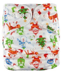 Christmas Characters on White Reusable Nappy