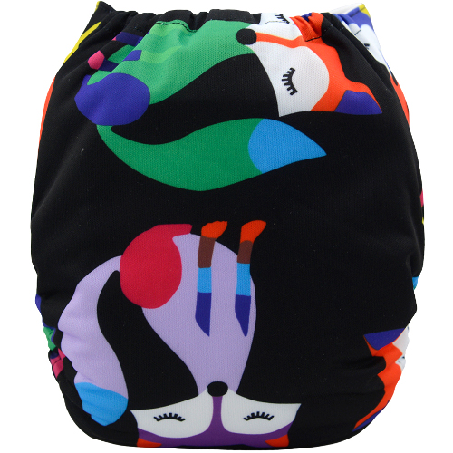Foxes on Black design Reusable Nappy