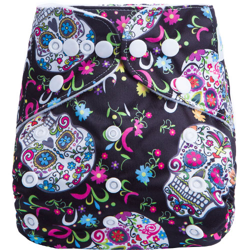 Floral Skull on Black design BTP Reusable Nappy
