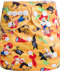 Pirates on Yellow Stripe design BTP Reusable Nappy