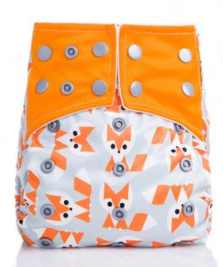Baby Foxes on Grey AIO Nappy