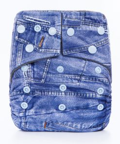 Blue Denim Design Charcoal Bamboo Cloth Nappy