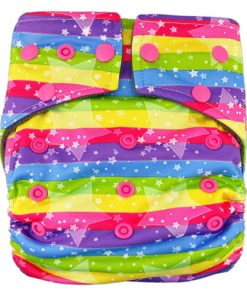 Stars Rainbow on Stripe Charcoal Bamboo Cloth Nappy