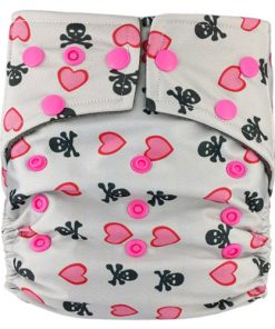 Hearts and Crossbones on Grey Charcoal Bamboo Cloth Nappy