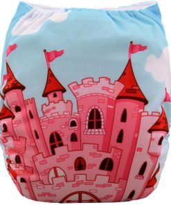 Fairytale Castle on Blue Positioned Print Reusable Cloth Nappy