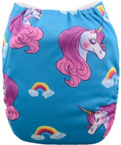Unicorns and Rainbows on Blue Positioned Print Reusable Cloth Nappy
