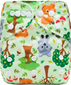 Spring Foxes on Green Reusable Cloth Nappy