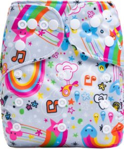 Musical Rainbows Design on White Reusable Cloth Nappy