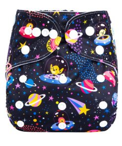 Colourful Cosmos Design on Black Reusable Cloth Nappy