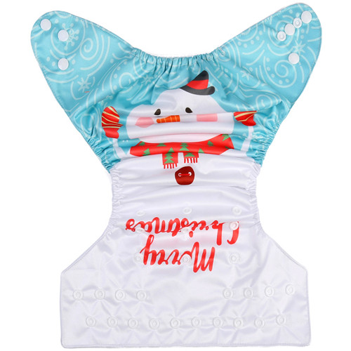 Merry Christmas Snowman (Positioned Print) Reusable Cloth Nappy