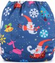 Christmas Characters on Blue (Positioned Print) Reusable Cloth Nappy