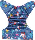 CCN313 – Christmas Characters on Blue (Positioned Print) Reusable Cloth Nappy