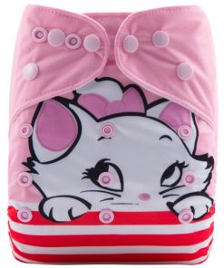 Marie Cat Pink (Positioned Print) Reusable Cloth Nappy