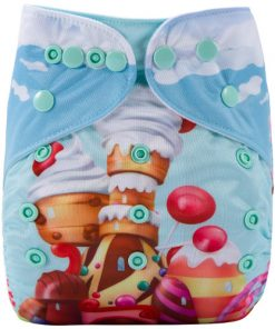 Candy Castle Blue (Positioned Print) Reusable Cloth Nappy