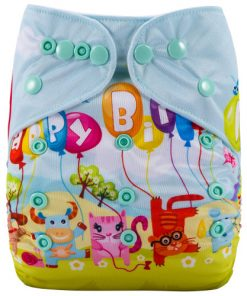 Happy Birthday Animals (Positioned Print) Reusable Cloth Nappy