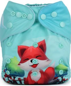 Fox & Windmill Blue (Positioned Print) Reusable Cloth Nappy