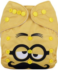 Moustache Minion Yellow (Positioned Print) Reusable Cloth Nappy
