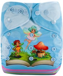 Fairies Blue (Positioned Print) Reusable Cloth Nappy