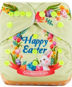 Happy Easter Bunny (Positioned Print) Reusable Cloth Nappy