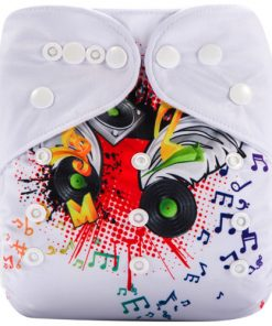 DJ Skull White (Positioned Print) Reusable Cloth Nappy