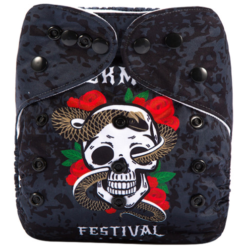 Rock Music Festival Black (Positioned Print) Reusable Cloth Nappy